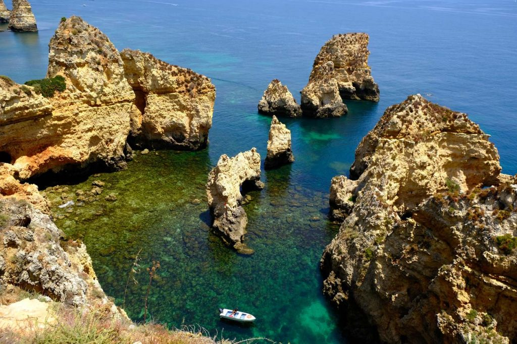Best places to visit in the Algarve - Shot of Ponta da Piedade from above