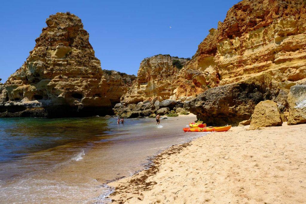 Things to do in the Algarve - Praia da Marinha beach kayak