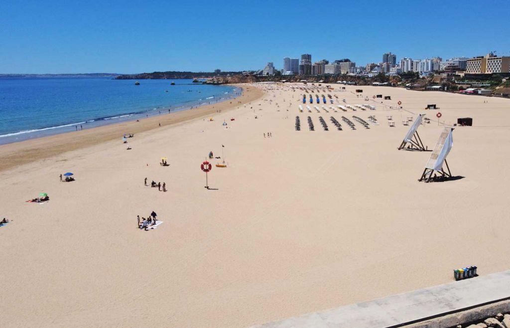Drone shot of Praia da Rocha beach - Best Algarve beaches