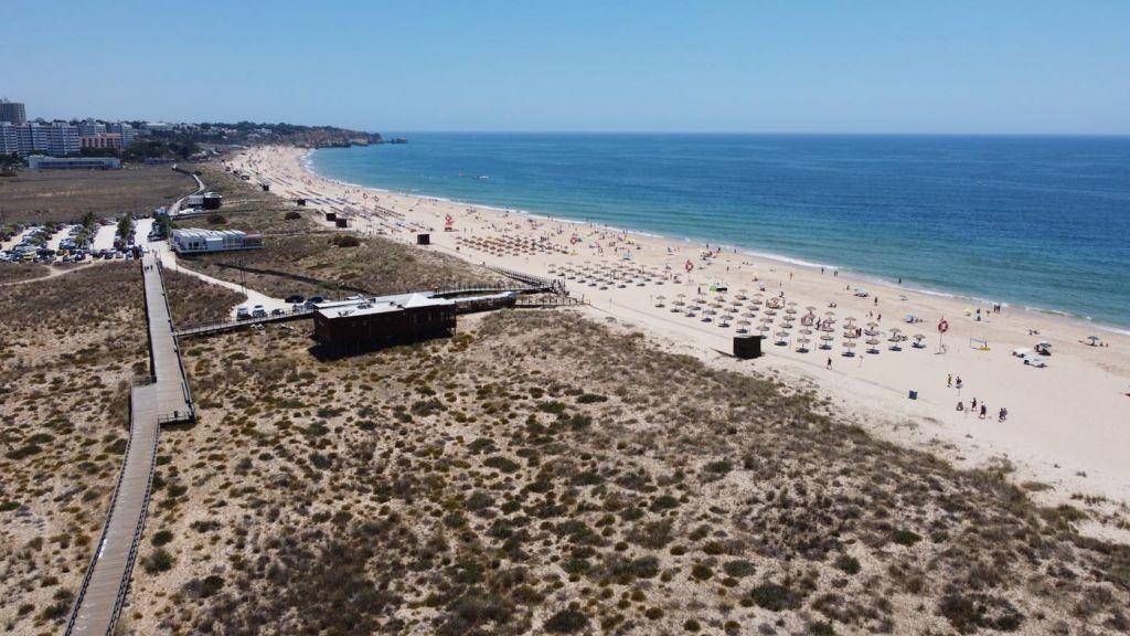 Where to stay in the Algarve - Overhead shot of Alvor Beach