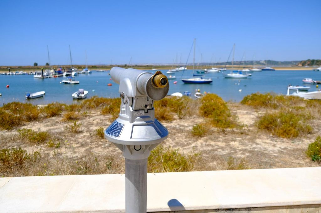Top tips for visiting Alvor - Shows a viewing deck looking at the marina