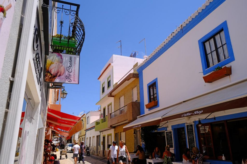 Cafes and restaurants on a quaint street