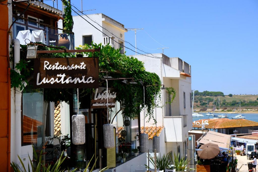 View of a restaurant on Alvor's main street