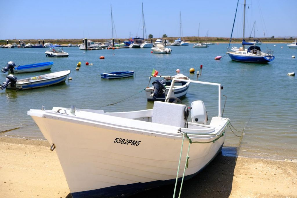 Alvor boat trips - Shows a boat docked on the sand