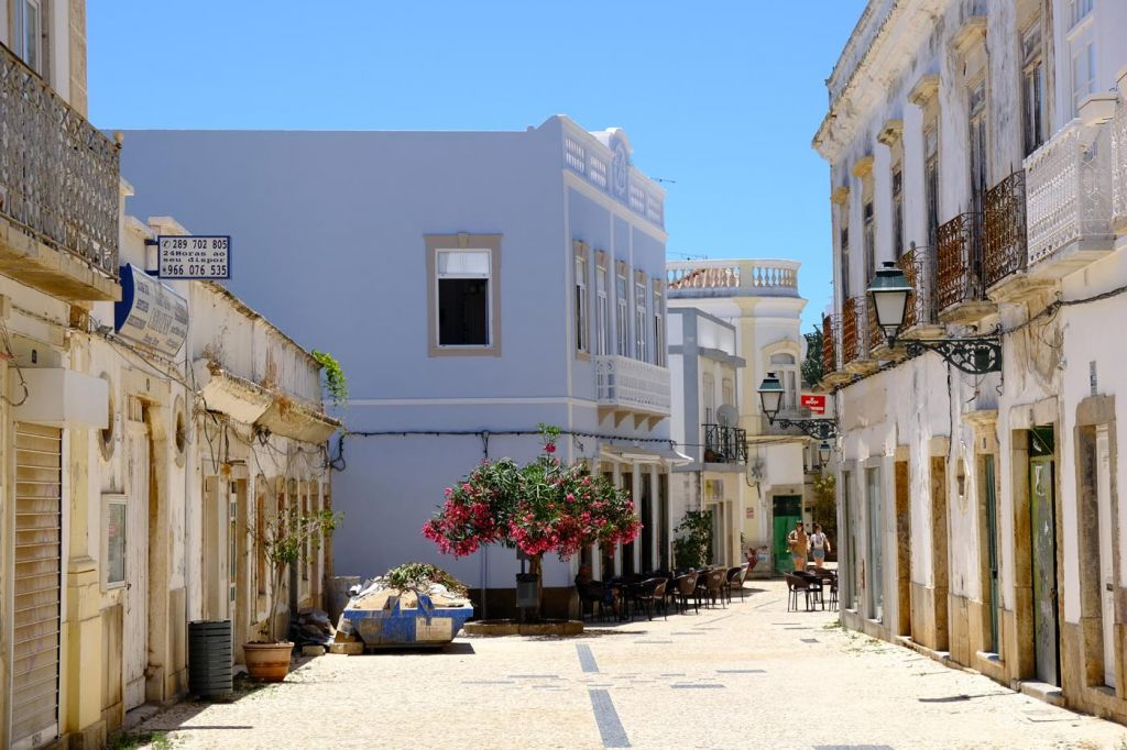 Where to stay in the Algarve - Colourful street in Olhão