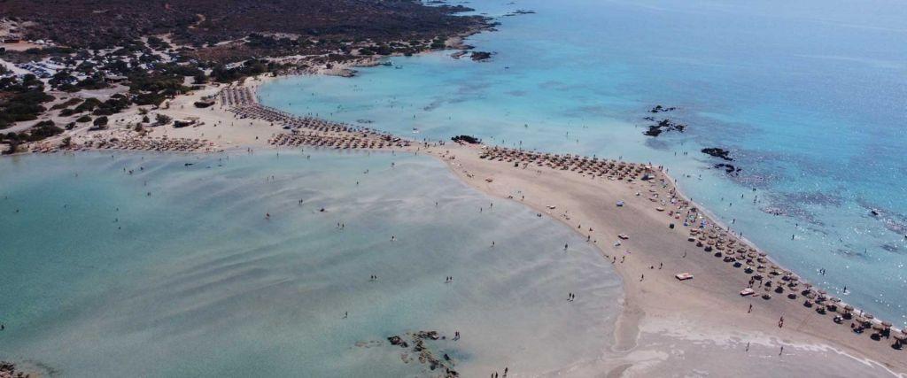 Elafonissi Beach guide - overhead view of lagoon